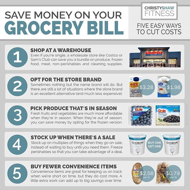 5 WAYS TO SAVE ON GROCERIES . ️ Whether you're feeding just yourself or a big family, groceries are a big expense (often one of our top household expenses). But making just a few small changes can add up to big time savings over time. . 1 SHOP AT A WAREHOUSE . Wholesale clubs can save you a ton on meat, produce, dry goods, dairy, eggs, frozen food, cleaning products and pharmacy items. You can benefit from buying in bulk even if you're single, especially on non-perishables. . For meat, d