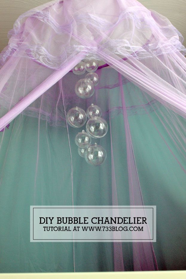 Learn how to make a DIY Bubble Chandelier, perfect for an ocean or mermaid themed room!
