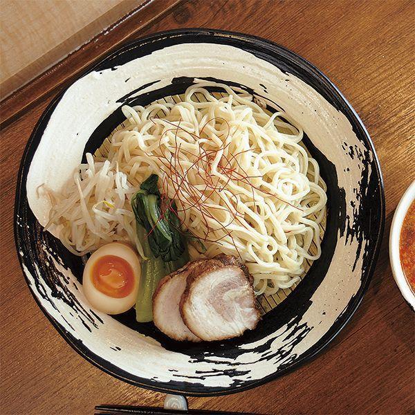 つけ麺用皿 黒極刷毛六兵衛8.0つけ麺皿 和食器 冷やし中華 パスタ皿 日本製 美濃焼 業務用