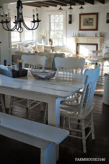 We need a white farmhouse table. We can buy a really cheap run down table and refinish it like this.