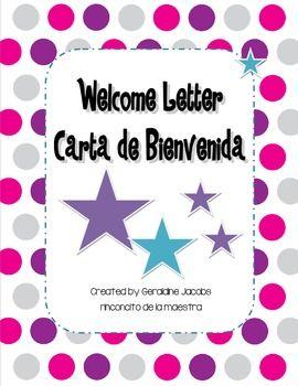 DUAL LANGUAGE WELCOME LETTER / CARTA DE BIENVENIDA - TeachersPayTeachers.com FREE