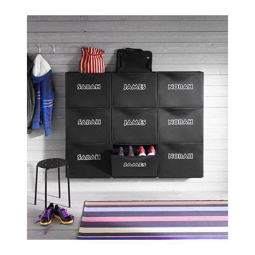 TRONES Armoire à chaussures/rangement, noir noir 51x39 cm