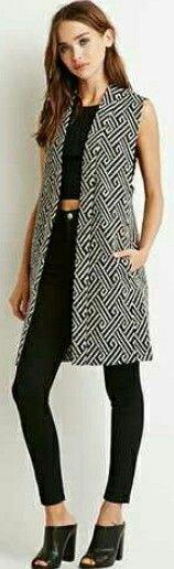 Meander Pattern Longline Vest.