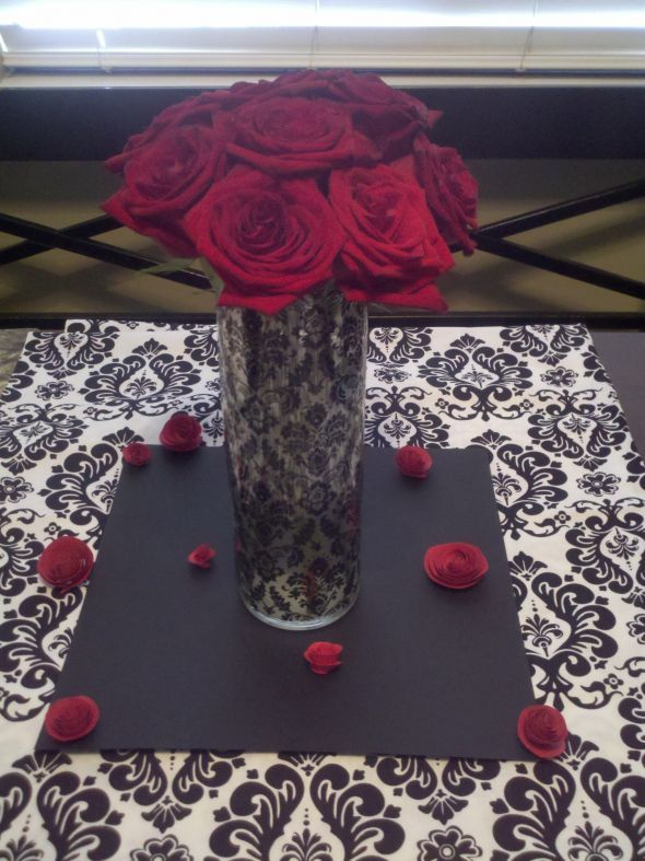 Diy damask vase for centerpieces wedding black