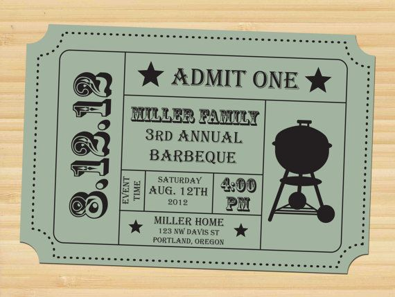 printable ticket stub  barbecue invitation  bbq party
