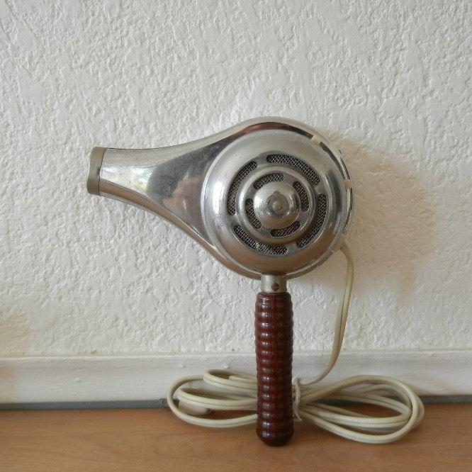 Handy Hannah Hair Dryer, 1950's Chrome and Wood