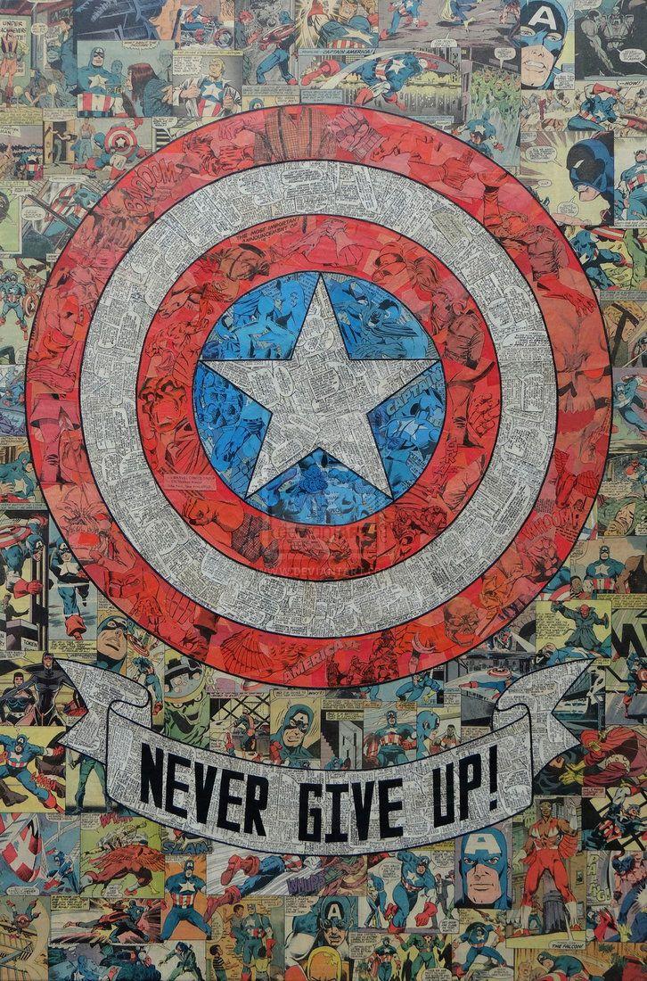 Cap's Shield Comic Collage by Mike Alcantara  http://mikealcantara.deviantart.com/