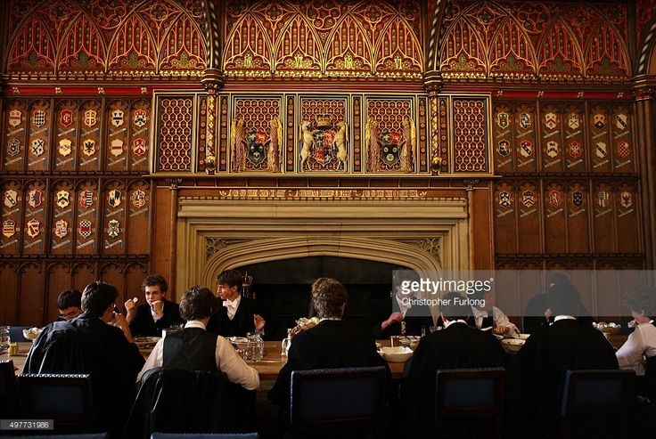 Scholars at Eton College have lunch in their house dining room at the iconic private school near Windsor, England. Eton College was founded in 1440 by King Henry VI. The College originally had 70 King's Scholars or 'Collegers' who lived in the College and were educated free, and a small number of 'Oppidans' who lived in the town of Eton and paid for their education. Eton has a very long list of distinguished former pupils, including eighteen former British Prime Ministers.