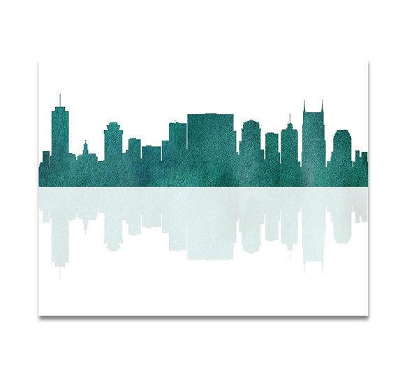 Nashville Tennessee City Skyline Green Teal by CityPrintsYourWay