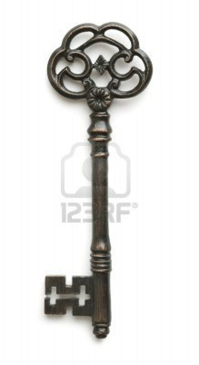 Vintage key on white background Stock Photo - 8066385