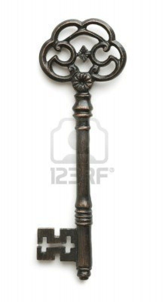 Vintage key on white background Stock Photo - 8066385