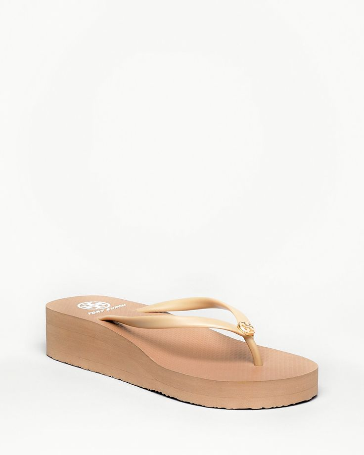 TORY BURCH Rubber Wedge Flip-Flop, Khaki/Khaki $65