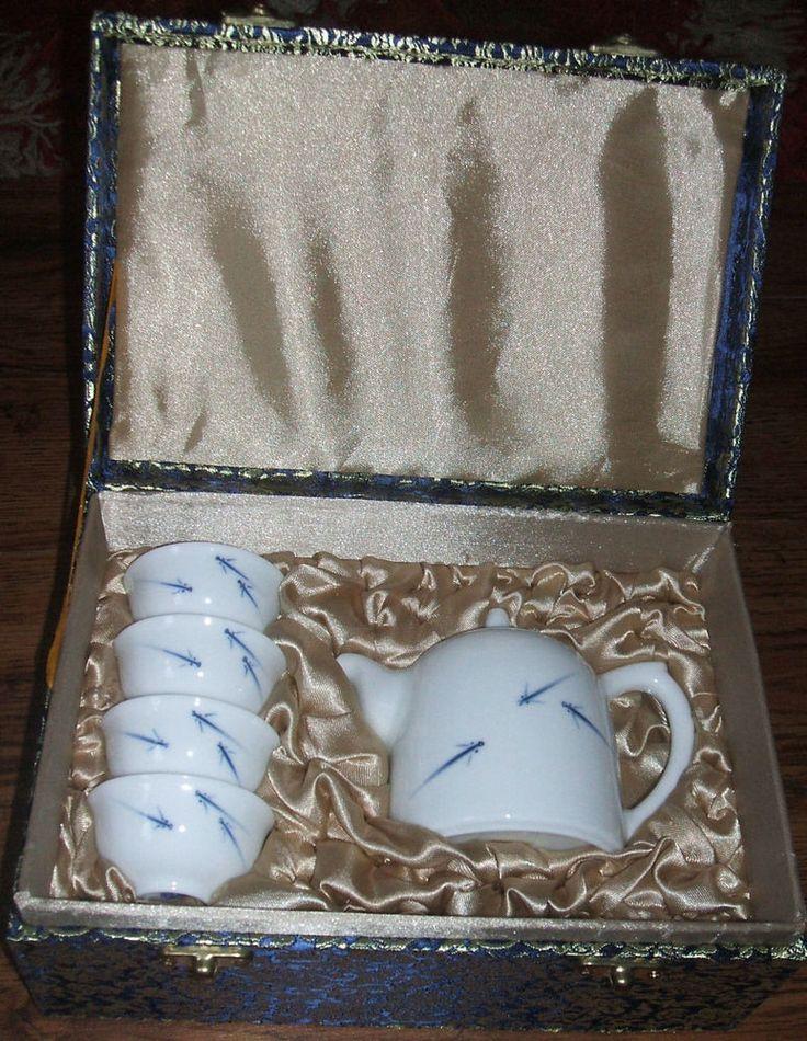 #vintage #ebaysales NEW Beautifully Giftboxed Chinese Oriental TeaSet Teapot Teacup Gold Blue White