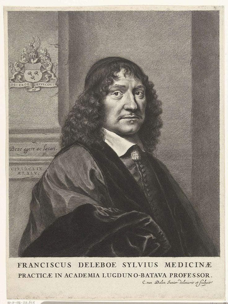 Cornelis van Dalen (II) | Portret van Franciscus de le Boë Sylvius, Cornelis van Dalen (II), 1659 | Portret van medicus Franciscus de le Boë Sylvius op 45-jarige leeftijd, borststuk met op achtergrond zijn wapen in reliëf op de muur. Op een richel staat zijn motto Bene agere ac laetari.