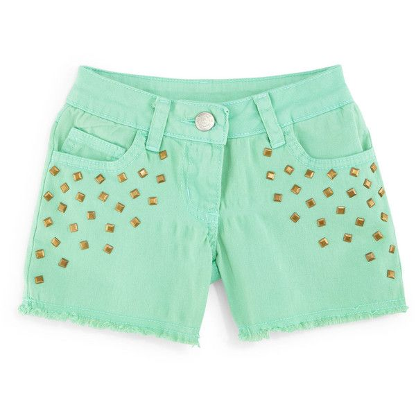 TruLuv Studded Denim Shorts (29 NZD) ❤ liked on Polyvore featuring shorts, mint, plus size, mint green shorts, mint green jean shorts, studded shorts, plus size shorts and relaxed fit shorts