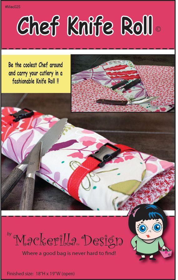 Chef Knife Roll Sewing Pattern PDF by MackerillaDesign on Etsy, $10.00