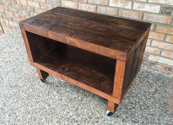 "Rustic Reclaimed Barn Wood TV Stand - Solid Oak W/ 8"" Wooden Caster Legs"