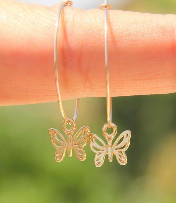 Butterfly Earrings, Butterfly Hoop Earrings, #jewelry #earrings @EtsyMktgTool http://etsy.me/2wGkQu9 #butterfly #goldbutterfly #goldhoops