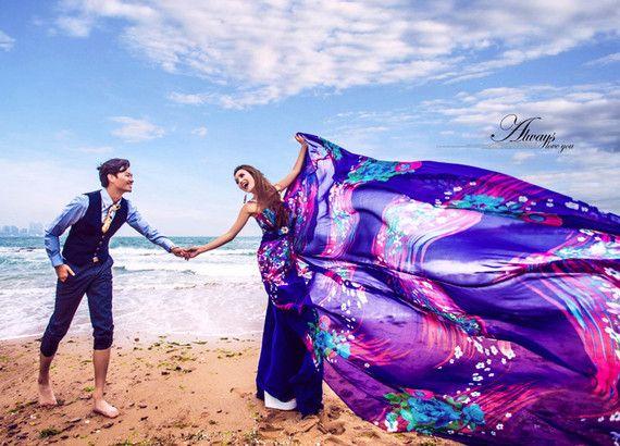 위치 패션 웨딩 드레스 쉬폰 푸른 바다 사진에 새로운 스튜디오 테마 커플 사진 전시회