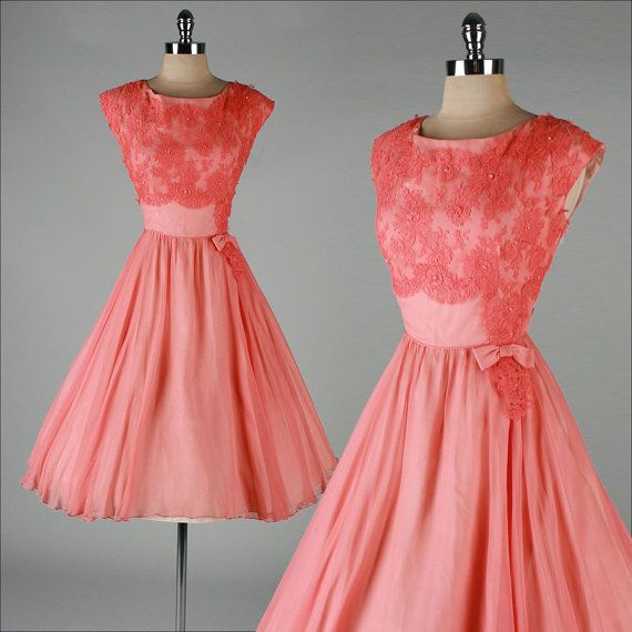 vintage 1950s dress . peach silk crepe . by millstreetvintage