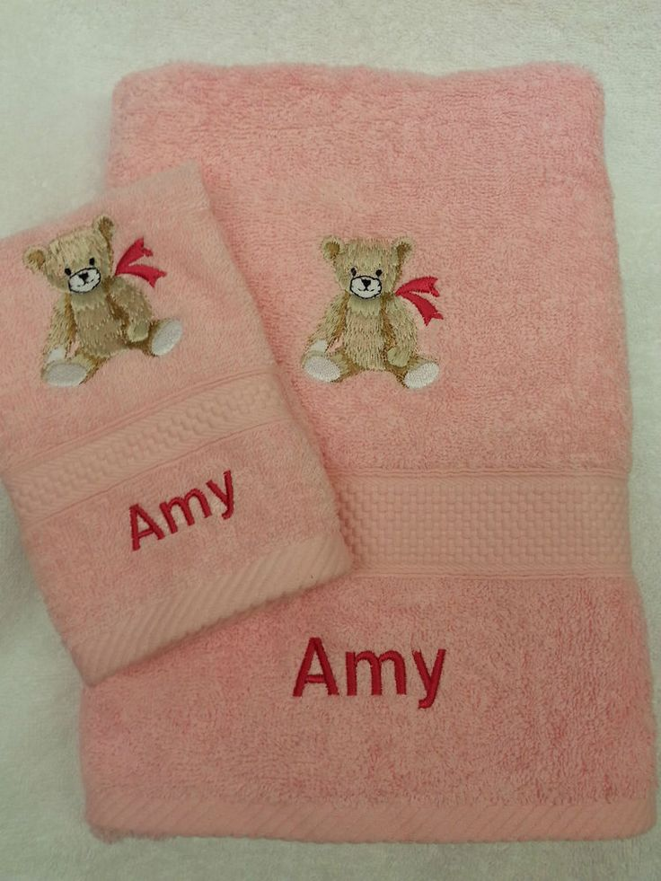 PERSONALISED TEDDY BEAR HAND TOWEL AND FACECLOTH SET CHRISTMAS GIFT PRESENT BABY