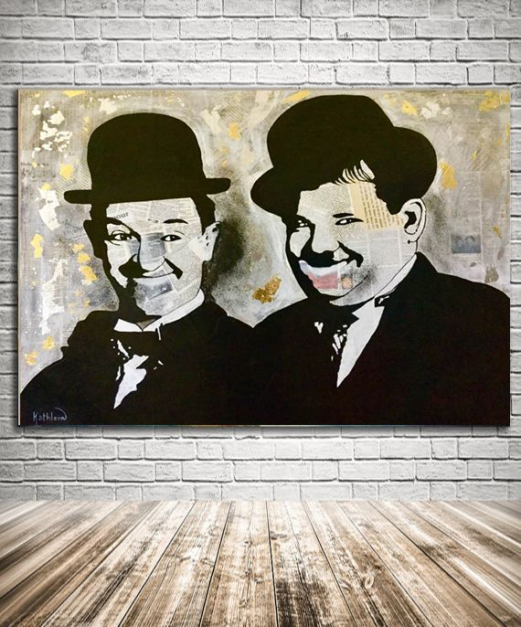Stan LAUREL and Oliver HARDY, Acrylic Painting & Mixed Media on Panel by Kathleen Artist.