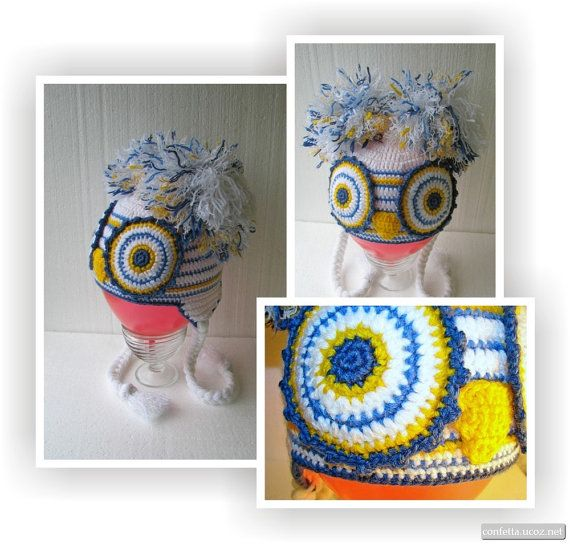 Baby hat Owl, crochet hat, animals winter hat, funny baby hat, beanie for children, hat with ears, a hat with pigtails; Owl hat with pompons