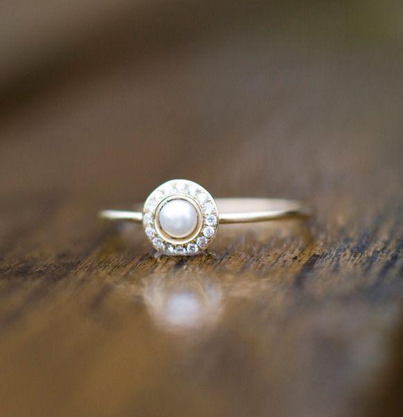 Pierścionek zaręczynowy z perłą i diamentami - arpelc - Pierścionki zaręczynowe