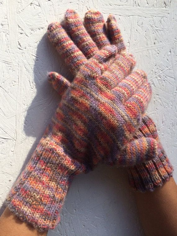Gloves L size women Knitted multicolor Accessory by CELINICRAFTS