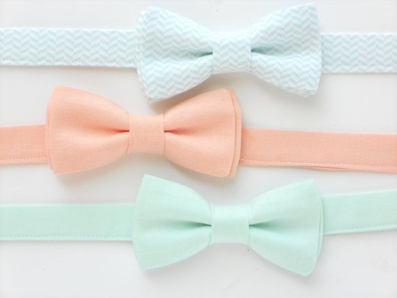 Boys bow tie, mint bow tie for kids, peach bow tie, wedding bow tie for ringbearers, groomsmen ties, boys photo prop, childrens bow tie