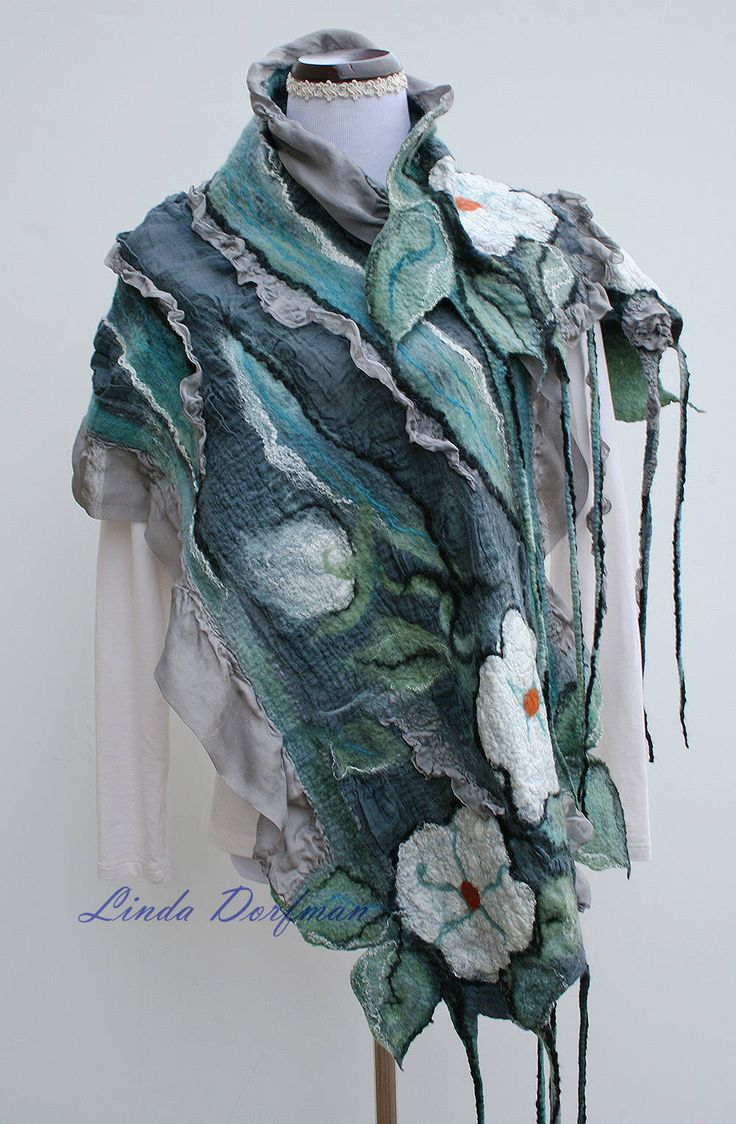 Felted Wool Scarf,Nuno Felted Scarf,Teal Gray Wet Felted Scarf,Felted Wool Wrap,Nuno Felt Wool Scarf,Wool Felt Scarf,Floral Merino Scarf by SilkWoolenWear on Etsy https://www.etsy.com/ca/listing/564550363/felted-wool-scarfnuno-felted-scarfteal