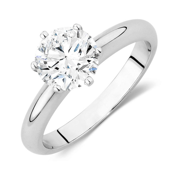 Evermore Certified Solitaire Engagement Ring with a 2 Carat Diamond in 18ct White Gold