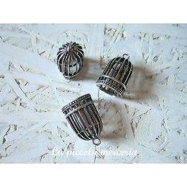 Ciondolo gabbietta uccellini pendente metallo argento fimo 32 mm bigiotteria