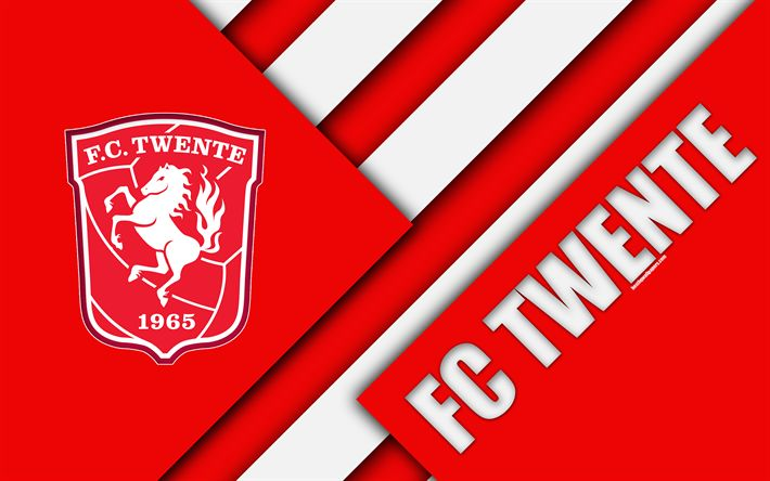 Download wallpapers FC Twente, emblem, 4k, material design, Dutch football club, red white abstraction, Eredivisie, Enschede, Netherlands, football