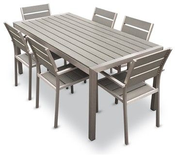 Outdoor Aluminum Resin 7 Piece Dining Table and Chairs Set contemporary-outdoor-dining-tables