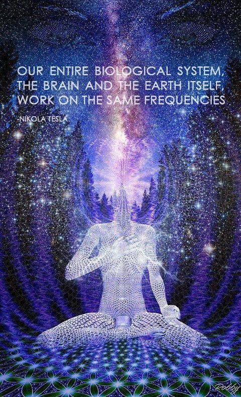 """Our entire biological system, the brain and the earth itself, work on the same frequencies."" -Nicola Tesla"