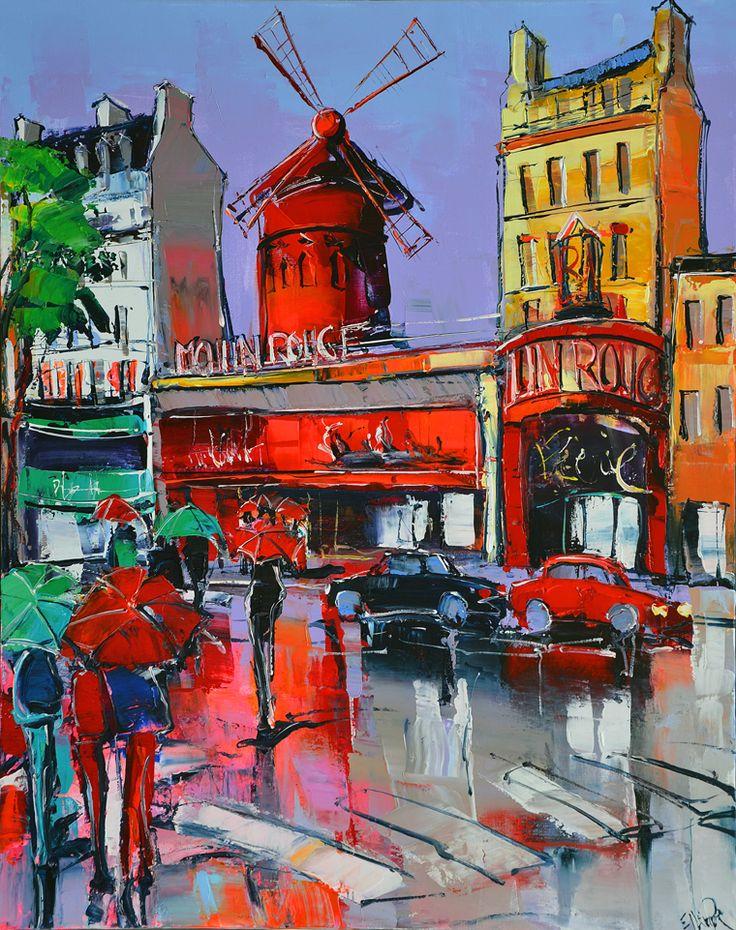 Eric Le Pape, Le Moulin Rouge, 30F 92x73 cm | Eric Le Pape | Pinterest | Moulin Rouge, Paintings and Art daily