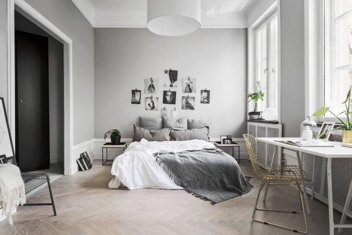 Idee Comemnt Decorer Une Chambre Scandinave Parquet Clair Linge De Lit Gris Et Blanc Bureau Blanc Chaise With Images Bedroom Decor Interior Paint Colors For Living Room