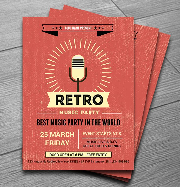 Retro Music Club Party Flyer                                                                                                                                                     More _ another great flyer design idea for my own projects, plus posters and flyers are always 'in use' so we constantly need fresh ideas that will inspire our designs ..