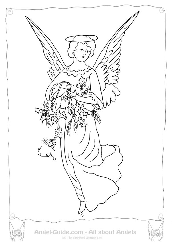 Coloring Pages Angels Winter Holly At Angel Guide