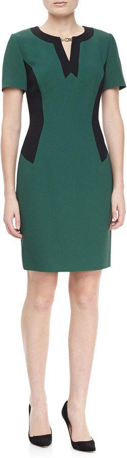 JASON WU Short Sleeve Colorblock Locket Dress, Emerald/Green