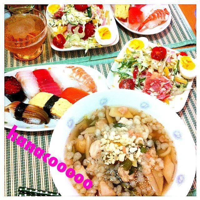 二人前の寿司が500円!値下げ時にGO\豆腐、パプリカ、キャベツ、セロリ、トマト、ピーマン、ハムサラダ - 34件のもぐもぐ - 鳥肉うどんPLUSサラダ&しーすーwww by hanacooooo