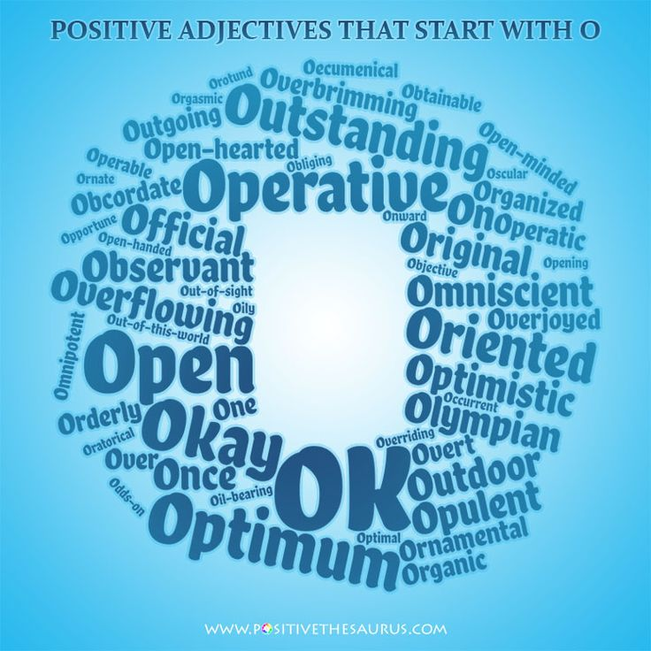Optimum list of positive adjectives starting with O wordcloud #PositiveWords #PositiveAdjectives #PositiveSaurus #WordCloud