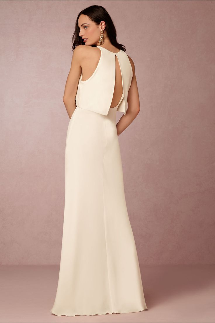 Modern Courthouse Wedding Dress Style | Iva Crepe Maxi From BHLDN