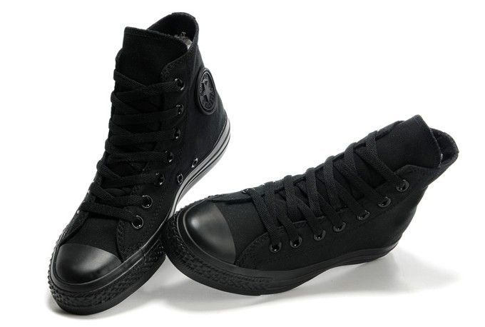 converse high tops black leather   All black converse