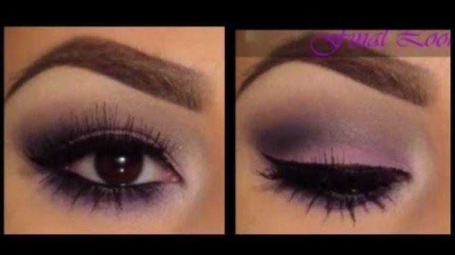 Kolay Mor Dumanlı Göz Makyajı Uygulaması - Evde uygulayabileceğiniz kolay mor dumanlı göz makyajı tekniği (Easy Purple Smokey Eye Makeup Video)