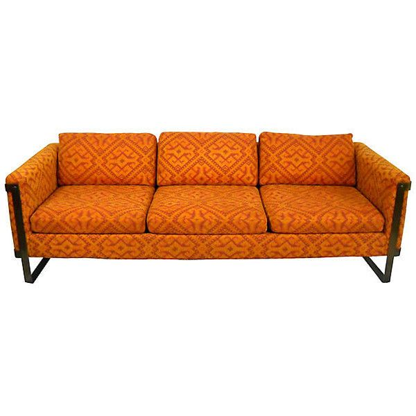Pre-Owned Flat Bar Sofa Attri. to Milo Baughman (10,035 CAD) ❤ liked on Polyvore featuring home, furniture, sofas, second hand sofas, second hand furniture, woven furniture and secondhand furniture