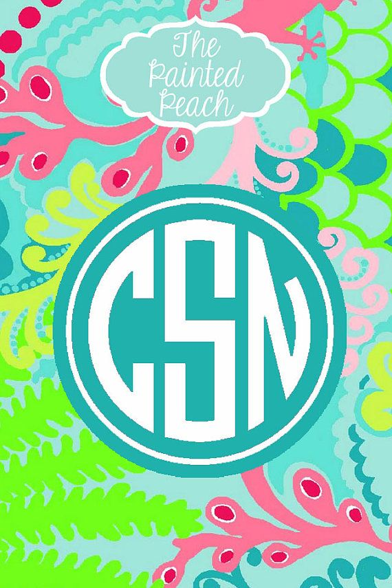 """iPhone 4/4S  Monogram Wallpaper - Lilly Pulitzer """"Checking In"""" Inspired 