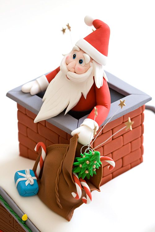 Santa in Chimney cake tutorial, from Baking Obsession.