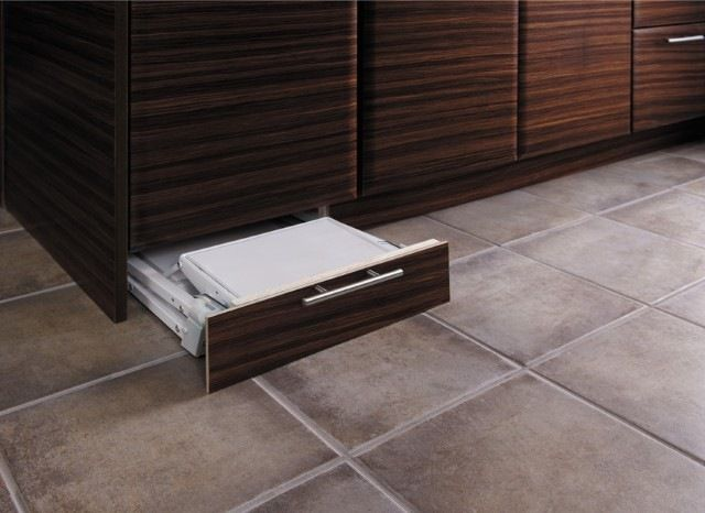 a toe kick drawer specifically for storing a step stool, like this one from Fieldstone. If you are retrofitting, you can purchase the Stepfix from Hafele. This item, along with the bracket for mounting the matching toe kick, retails for approximately $210.